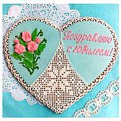 Сувениры и подарки handmade. Livemaster - original item Gingerbread Heart with a bouquet of roses.Gingerbread Valentine. Gingerbread Birthday. Handmade.