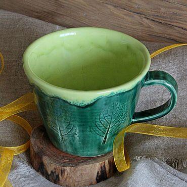 """Посуда ручной работы. Ярмарка Мастеров - ручная работа Керамическая кружка """"Листочек"""". Атмосферная кружка для чая. Handmade."""