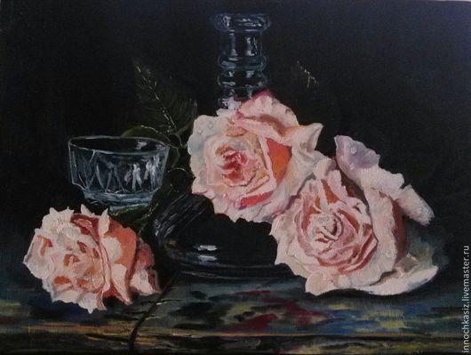 Картины цветов ручной работы. Ярмарка Мастеров - ручная работа. Купить розы и хрусталь. Handmade. Разноцветный, картина в подарок