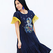Одежда handmade. Livemaster - original item Unique a tent dress with graphic embroidery
