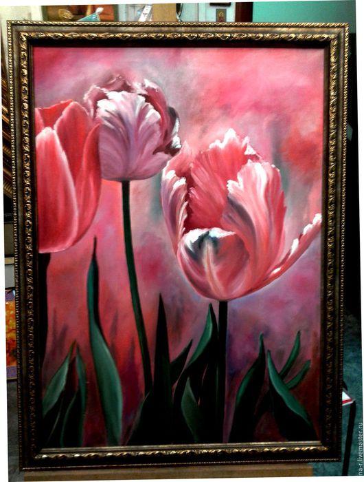 Картины цветов ручной работы. Ярмарка Мастеров - ручная работа. Купить Тюльпаны. Handmade. Цветы, подарок, яркая картина, розовый