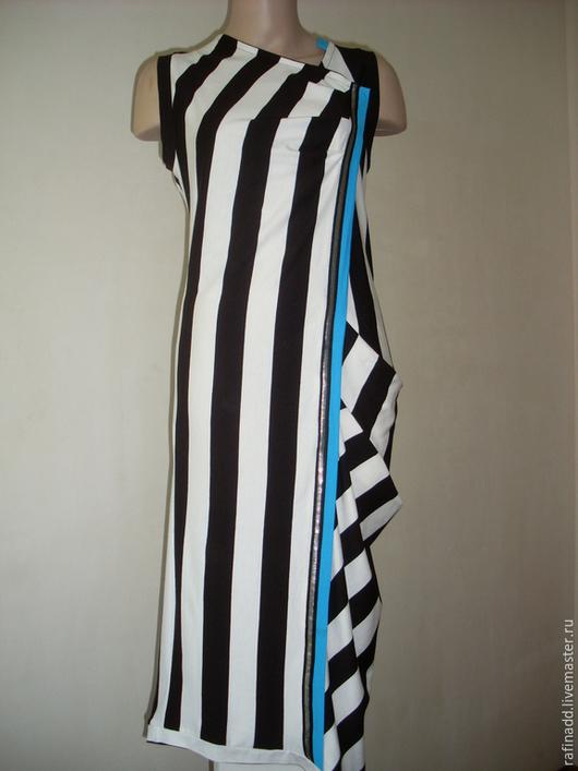 Платья ручной работы. Ярмарка Мастеров - ручная работа. Купить Платье в полоску. Handmade. Чёрно-белый, трикотаж хлопок