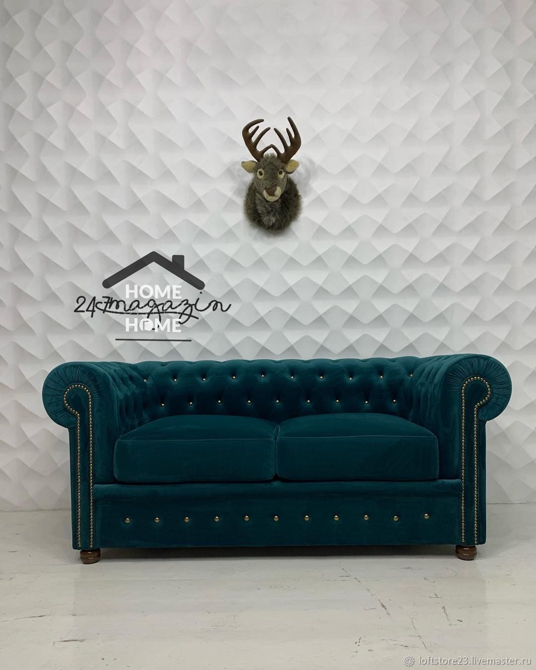 2-seater Chesterfield sofa with sleeping space, Sofas, Yaroslavl,  Фото №1