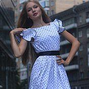 Одежда ручной работы. Ярмарка Мастеров - ручная работа платье белое в горошек. Handmade.