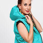 Одежда handmade. Livemaster - original item Vest with hood Turquoise. Handmade.