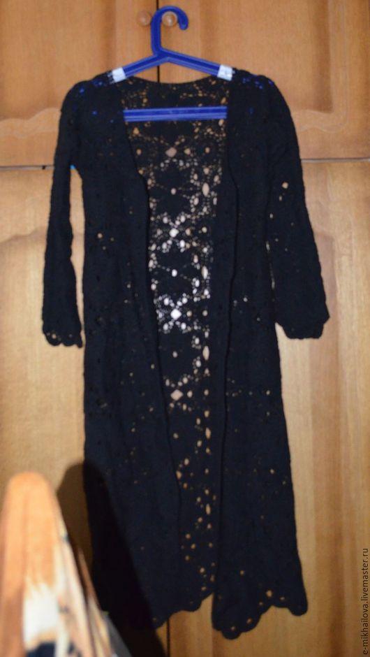 Верхняя одежда ручной работы. Ярмарка Мастеров - ручная работа. Купить Вязаное кружевное пальто ручной работы. Handmade. Черный