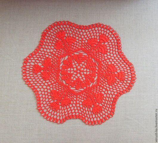 Текстиль, ковры ручной работы. Ярмарка Мастеров - ручная работа. Купить Красные тюльпаны. Handmade. Ярко-красный, салфетка крючком