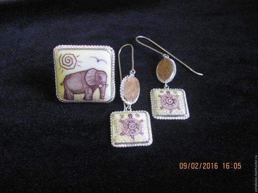 Комплекты украшений ручной работы. Ярмарка Мастеров - ручная работа. Купить Африка 2. Handmade. Африка, черепаха, солнце, финифть
