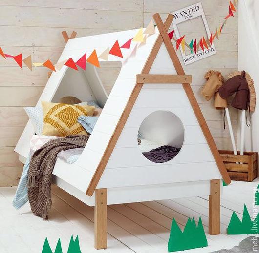 Детская ручной работы. Ярмарка Мастеров - ручная работа. Купить Детская кроватка-домик №17. Handmade. Бежевый, кровать на заказ