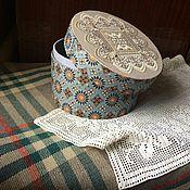 Для дома и интерьера ручной работы. Ярмарка Мастеров - ручная работа Круглый короб с вышивкой на крышке. Handmade.