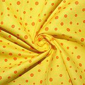 Материалы для творчества ручной работы. Ярмарка Мастеров - ручная работа Американский хлопок-фланель  ЯРКИЙ ГОРОШЕК на желтом фоне. Handmade.