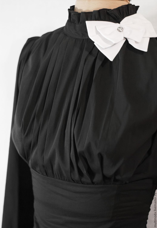 afe0d056fc7 Купить Чёрная блузка с белым бантом Блузки ручной работы. Чёрная блузка с белым  бантом. Multimoda. Интернет-магазин Ярмарка ...