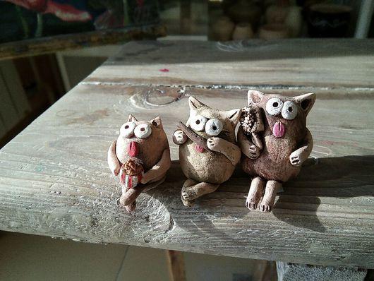 Статуэтки ручной работы. Ярмарка Мастеров - ручная работа. Купить Коты из глины, керамика. Handmade. Коты, Керамика, купить подарок