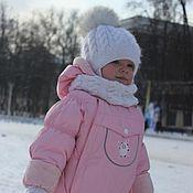 Работы для детей, handmade. Livemaster - original item knitted set for girls. Set cap and scarf.. Handmade.