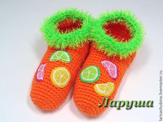 """Обувь ручной работы. Ярмарка Мастеров - ручная работа. Купить Тапочки вязаные """"Витаминные"""".. Handmade. Рыжий, апельсин, грейпфрут"""