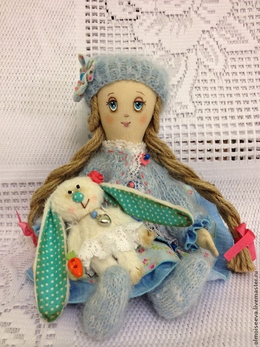 """Ароматизированные куклы ручной работы. Ярмарка Мастеров - ручная работа. Купить Полинка( куколка из серии"""" Детство""""). Handmade. Голубой, вискоза"""