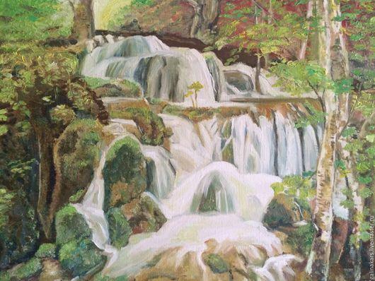"""Пейзаж ручной работы. Ярмарка Мастеров - ручная работа. Купить Картина маслом """"Водопад"""". Handmade. Картина в подарок, летний пейзаж"""