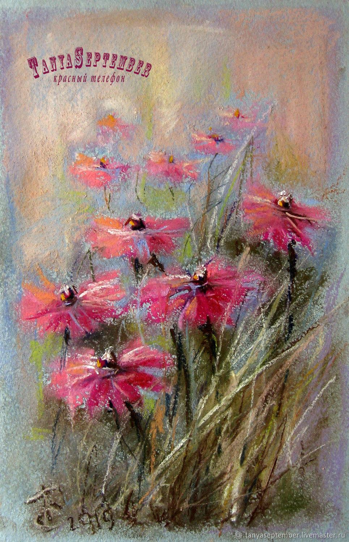Flower Paintings handmade. Livemaster - handmade. Buy Painting pastel SKETCH WITH PINK FLOWERS.Pink, painting flowers
