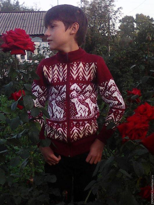Кофты и свитера ручной работы. Ярмарка Мастеров - ручная работа. Купить Детский свитер в скандинавском стиле на застежке молнии.. Handmade.