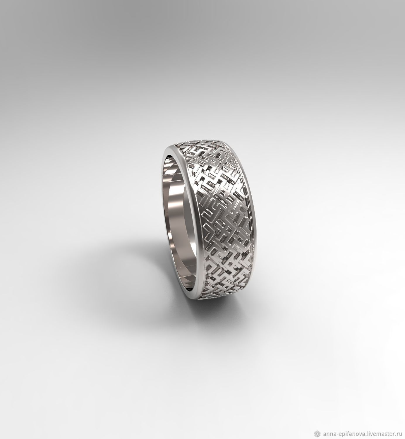 Wedding ring with ornaments, silver (Ob42), Engagement rings, Chelyabinsk,  Фото №1
