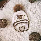 Работы для детей, ручной работы. Ярмарка Мастеров - ручная работа Теплая шапочка ``Бэмби``. Handmade.