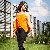 Одежда handmade. Livemaster - original item кмг_003 top silk embroidered with orange.. Handmade.