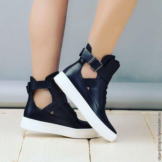 Обувь ручной работы. Ярмарка Мастеров - ручная работа. Купить Ботинки. Handmade. Чёрно-белый, кожа натуральная, индивидуальный пошив