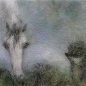Картины и панно ручной работы. Ярмарка Мастеров - ручная работа Картина из шерсти Ёжик в тумане с лошадью. Handmade.