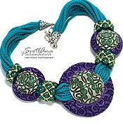 Украшения handmade. Livemaster - original item Necklace of polymer clay purple green turquoise mix (546) (331). Handmade.
