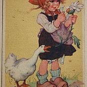 Винтаж handmade. Livemaster - original item Vintage postcard. For garland. For the collection.. Handmade.