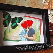 Подарки к праздникам ручной работы. Ярмарка Мастеров - ручная работа Фоторамка с фотографией и бабочкой. Handmade.