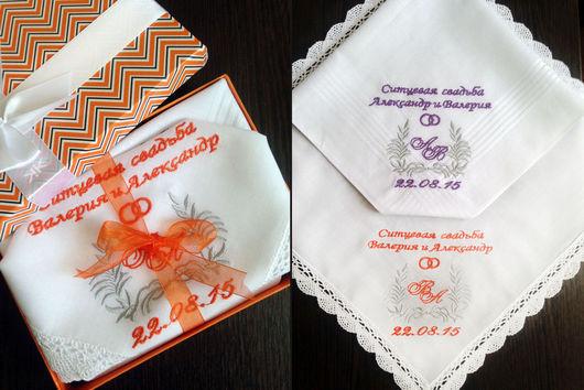 Носовые платочки ручной работы. Ярмарка Мастеров - ручная работа. Купить Набор носовой платочек ситцевая свадьба Монограмма Ситцевая свадьба. Handmade.