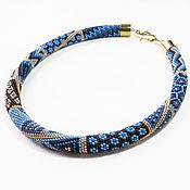 Украшения handmade. Livemaster - original item Harness beaded Patchwork blue brown. Handmade.