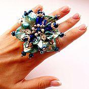 """Украшения ручной работы. Ярмарка Мастеров - ручная работа """"Лазурный цветок""""- кольцо с большим цветком. Handmade."""