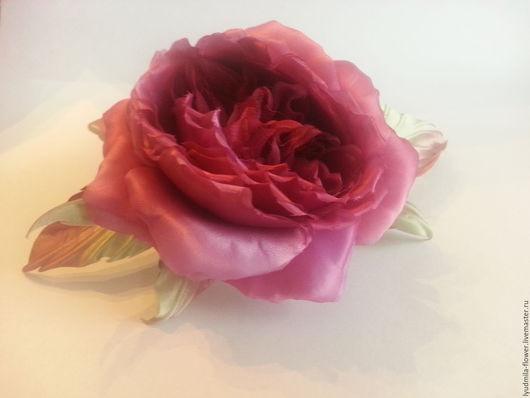 """Броши ручной работы. Ярмарка Мастеров - ручная работа. Купить Цветы из  шелка. Брошь роза """"Марсала"""". Handmade. Бордовый"""
