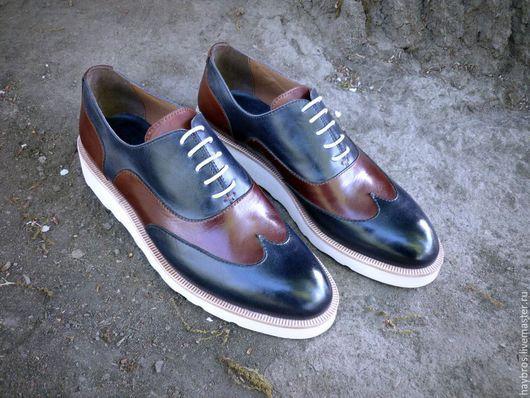 Обувь ручной работы. Ярмарка Мастеров - ручная работа. Купить Оксфорды мужские. Handmade. Разноцветный, кожа натуральная, спортивный стиль
