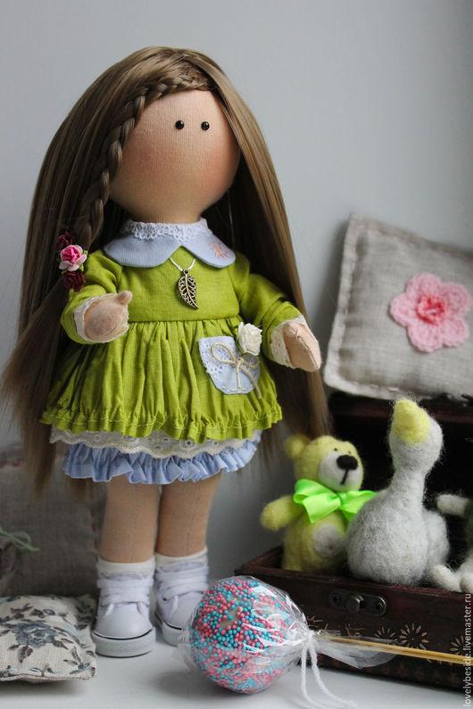 Коллекционные куклы ручной работы. Ярмарка Мастеров - ручная работа. Купить Интерьерная куколка Николь. Handmade. Оливковый, куколка для девочки