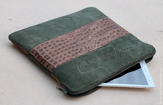 Чехол для планшета ноутбука и документов из замши Хаки и кожи Кроко