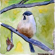 Картины и панно ручной работы. Ярмарка Мастеров - ручная работа Картина акварелью Птичка на ветке. Handmade.