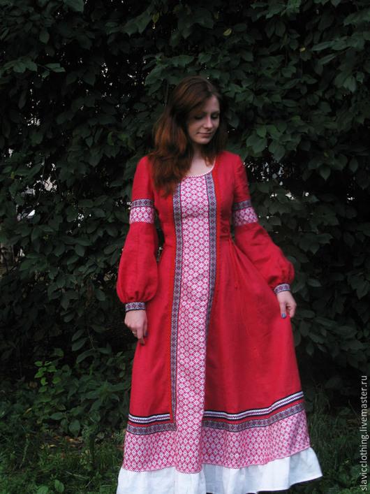 """Платья ручной работы. Ярмарка Мастеров - ручная работа. Купить славянское платье """"Ладомира"""". Handmade. Ярко-красный, славянское платье"""