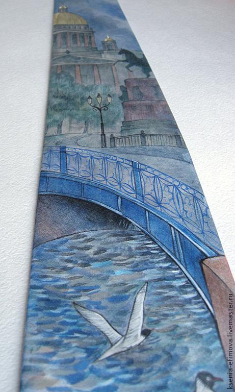 Галстуки, бабочки ручной работы. Ярмарка Мастеров - ручная работа. Купить Шелковый галстук с ручной росписью - Питер. Синий мост. Handmade.