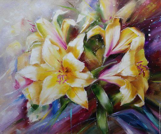 Картина с лилиями ручной работы. Желтые лилии. Ермолаева Олеся. Ярмарка  мастеров - картина маслом. Handmade.
