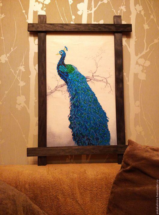 Животные ручной работы. Ярмарка Мастеров - ручная работа. Купить Картина алмазной мозаикой Павлин. Handmade. Синий, стразы
