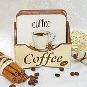 """Для дома и интерьера ручной работы. Ярмарка Мастеров - ручная работа Подставки под чашки """"Coffee"""". Handmade."""
