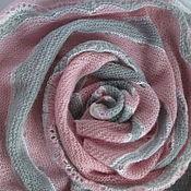 Аксессуары ручной работы. Ярмарка Мастеров - ручная работа Шаль  серо-розовая Розовые сумерки шерсть-мохер. Handmade.