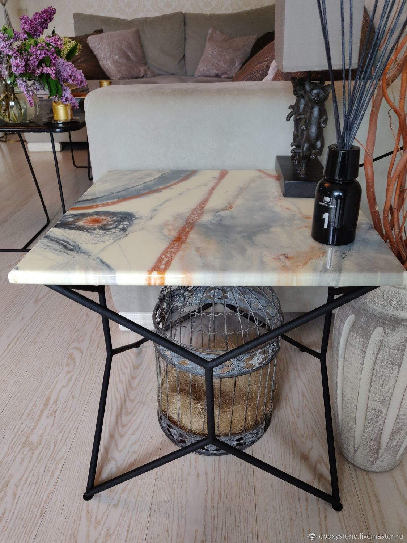 Журнальный стол белый синий мрамор, Столы, Москва,  Фото №1