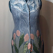 """Одежда ручной работы. Ярмарка Мастеров - ручная работа Жилет """" Тюльпаны"""" войлок. Handmade."""