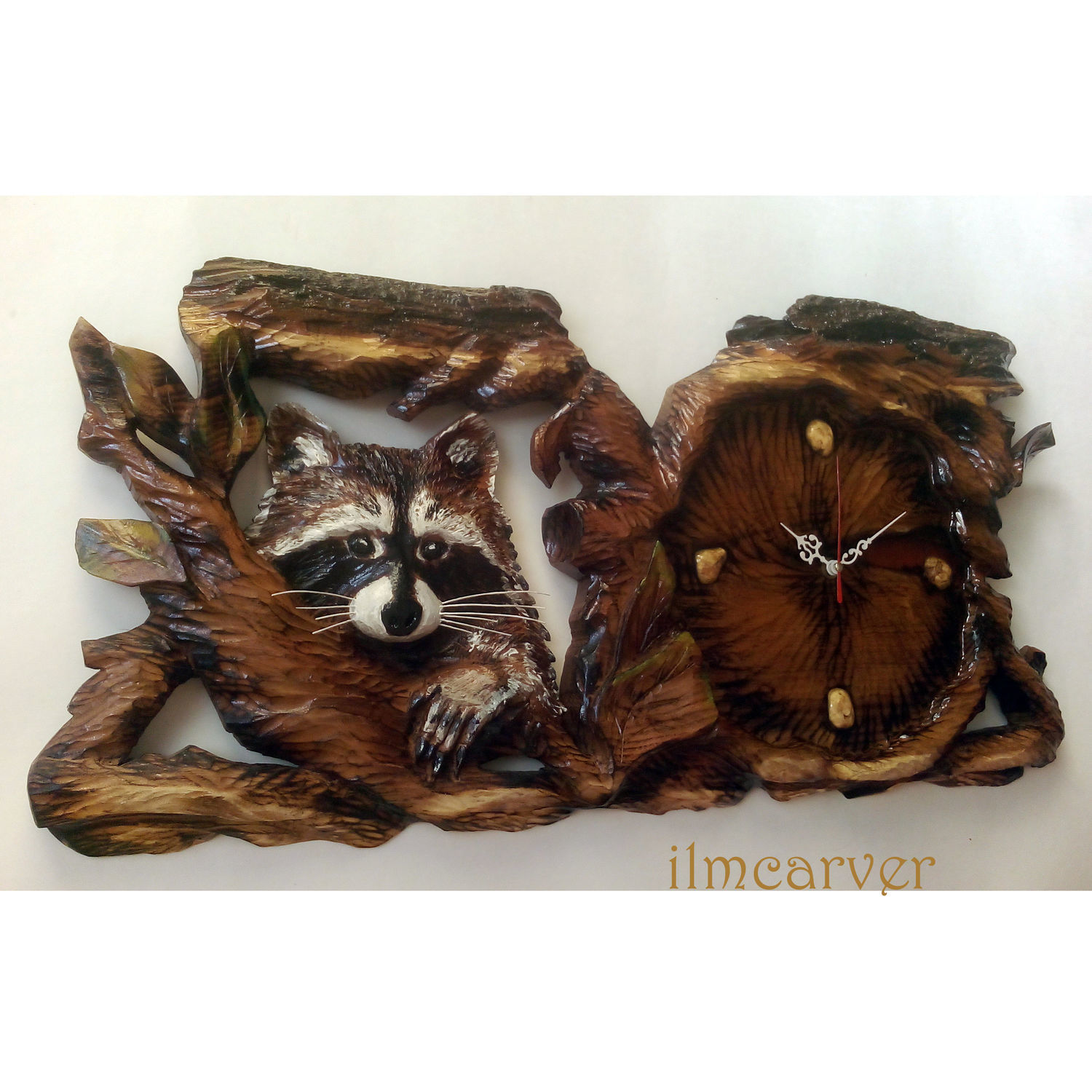 Carved wooden clock Coon 68h34 cm, Watch, Elista,  Фото №1