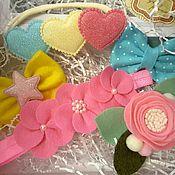 Аксессуары handmade. Livemaster - original item Set dressing felt - buttercups, hearts, bows, roses. Handmade.