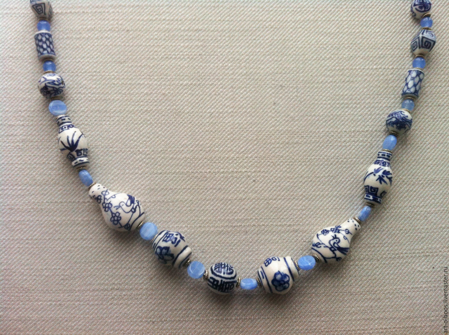 beads 'the sea worries three' ceramic, Necklace, Moscow,  Фото №1